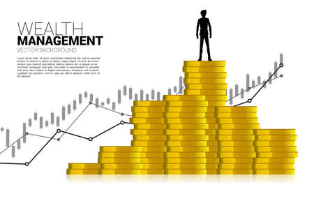 Silhouette of businessman standing on top of stack of coin. Concept of success investment and growth in business