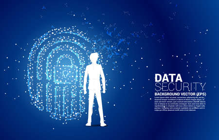 Silhouette of businessman standing with thumbprint icon from dot connect line polygon with lock pad center. background concept for finger scan lock technology and privacy access.