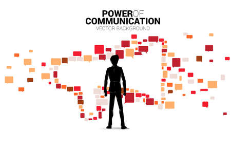 Silhouette of businessman standing with Big Megaphone from small bubble speech icon. Concept for power of comment and communication. 向量圖像