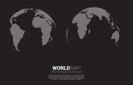Globe 3D World map from square pixel . concept of global Digital network