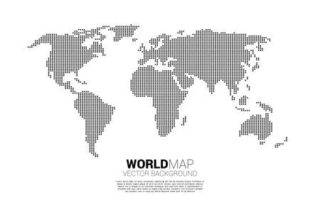 World map from square pixel. concept of global Digital network 版權商用圖片 - 163624188