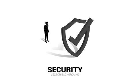 businessman standing with 3D Protection shield icon. concept of guard security and safety 向量圖像