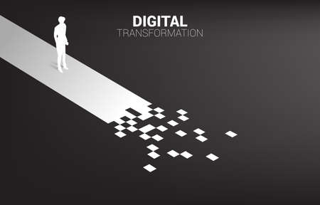 Silhouette of businessman standing on the way with pixel. concept of digital transformation of business.