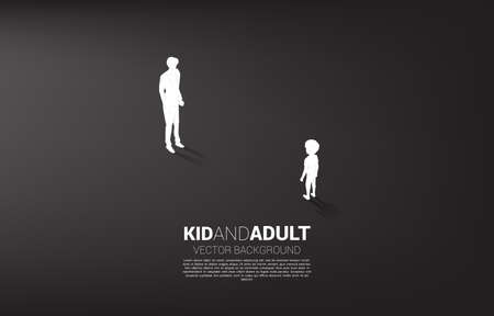 Silhouette of boy standing with adult. Concept of education solution and future of children.