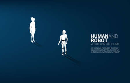 Facing of human and robot. Business concept for machine learning and a.i artificial intelligence.human vs. robot.