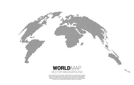 World map from square pixel. concept of global Digital network
