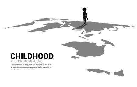 Silhouette of boy standing on world map. Concept of education solution and future of children. 向量圖像