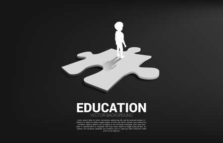Silhouette of boy standing on route with jigsaw. Concept of education solution and future of children.