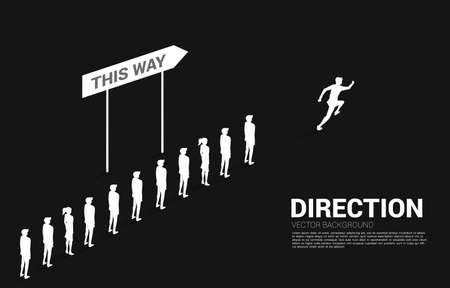Silhouette businessman running from group of businessman queue with direction. Concept of business company and team direction