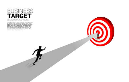 silhouette of businessman running on route to center dartboard. Business Concept of route to goal and direct to target. 向量圖像