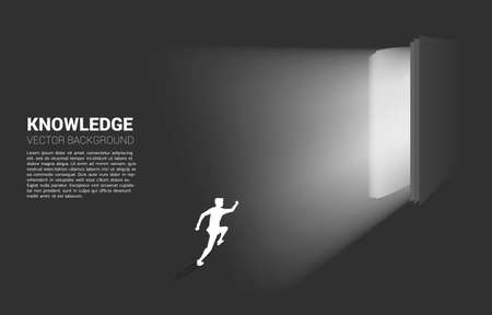 Silhouette of businessman running in light from open book. Concept of knowledge of book 向量圖像