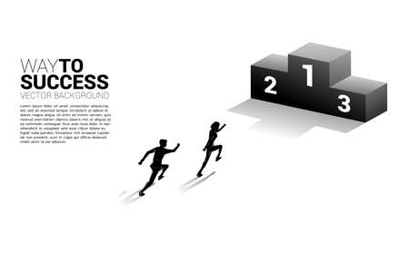 Silhouette of businessman running to first place podium. Business Concept of winner and success 向量圖像