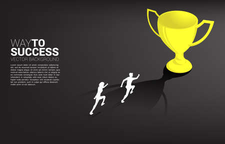 Silhouette businessman running to champion trophy. Business Concept of leadership goal and vision mission 向量圖像
