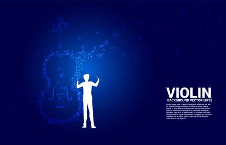 Vector silhouette of conductor hand with music melody note dancing flow shape violin icon . Concept background for song and concert theme. 向量圖像