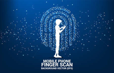 Silhouette businessman with mobile phone standing with thumbprint icon from dot connect line polygon. background concept for finger scan technology and privacy access. 向量圖像