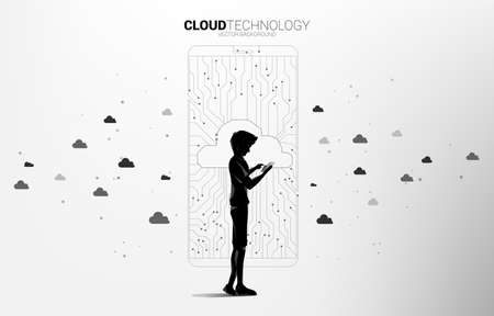 man with mobile phone with cloud icon shaped mobile phone with circuit line graphic, concept of Cloud computing network technology