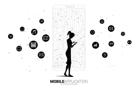 woman with mobile phone and software development programming tag icon shaped mobile phone with circuit line graphic.Concept for Programming language technology and coding. 版權商用圖片 - 164775924