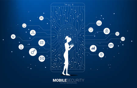 woman with mobile phone and thumbprint and lock pad icon in mobile from dot and line circuit board style. background concept for finger scan technology and privacy access.
