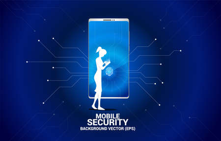 woman with mobile phone and Finger scan access icon on mobile phone screen. Background concept for security and privacy technology on network