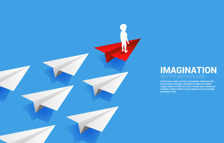 Silhouette of businesswoman standing on red origami paper airplane leading group of white. Concept of children imagination and education.