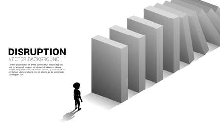 Silhouette of boy standing at the end of domino collapse. Concept of business industry disrupt