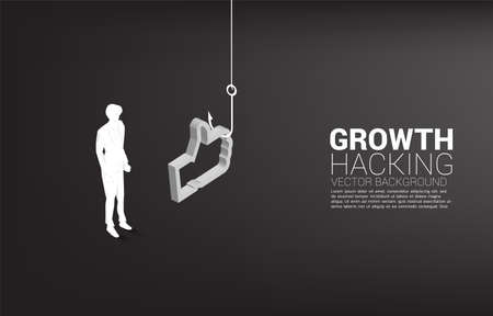 Silhouette of businessman standing with fishing hook with 3D like icon. Concept of click bait and digital phishing.