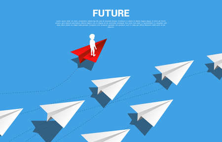 Silhouette of boy standing on red origami paper airplane go different way from group of white. Business Concept of disruption and vision mission. Vetores