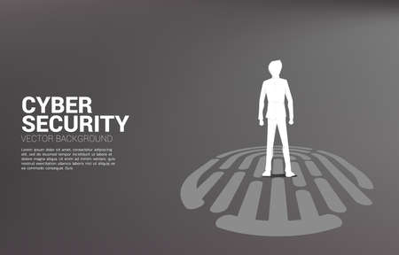 Businessman standing on finger scan icon. Background concept for security and privacy technology on network