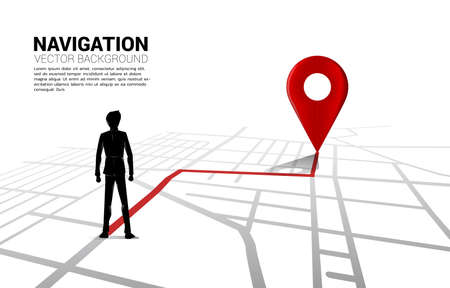 Route between 3D location pin markers and businessman on city road map. Concept for GPS navigation system infographic.