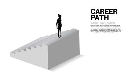Silhouette of businesswoman standing on top of stair. Concept of people ready to up level of career and business. Vectores