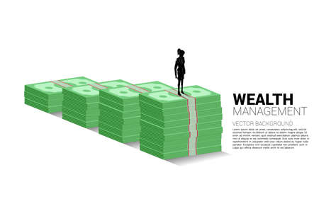 Silhouette of businesswoman standing on top of growth graph with stack of banknote. Concept of success investment and growth in business Illusztráció
