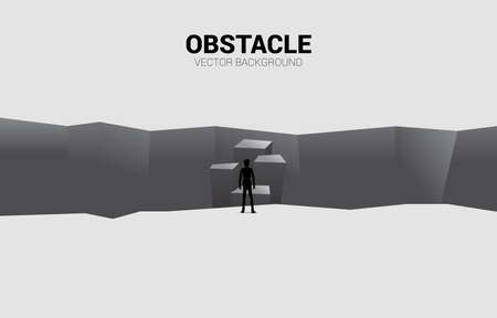 silhouette of businessman standing on step forward to abyss. concept of business challenge and courage man