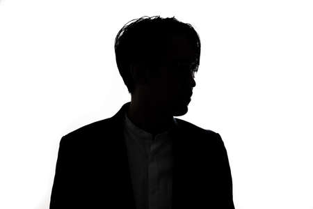 Silhouette of thinking businessman with white background. Concept for business and thinking idea. Foto de archivo