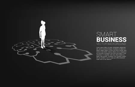 businesswoman standing on brain icon graphic on floor. icon for business planning and strategy thinking 版權商用圖片 - 168361752