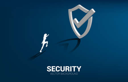 businessman running to 3D Protection shield icon. concept of guard security and safety