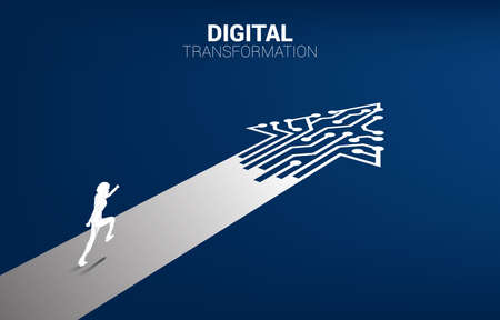 Silhouette of businessman running on the way with dot connect line circuit. concept of digital transformation of business.