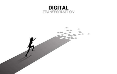 Silhouette of businessman running on the way with pixel. concept of digital transformation of business.