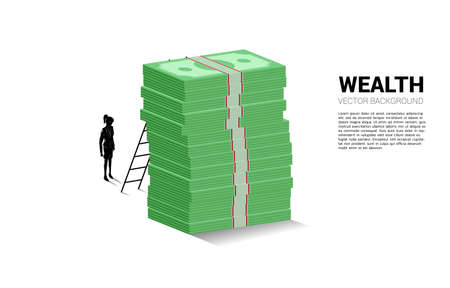 Silhouette of businesswoman standing with stack of banknote and ladder. Concept of success investment and growth in business