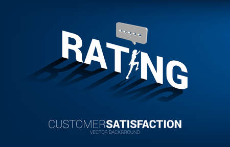 Silhouette businessman running to 3D customer rating star in speech bubble . concept of customer satisfaction , client rating and ranking.