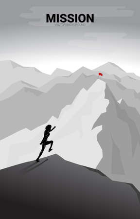 Businessman running to flag at top of mountain. Concept of Goal, Mission, Vision, Career path, Vector concept Polygon dot connect line style Vectores