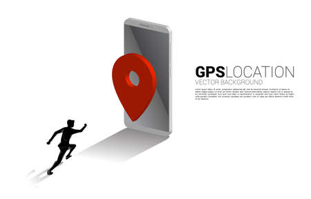 silhouette of businessman running to 3D GPS pin marker and mobile phone. concept of location and facility place , GPS technology