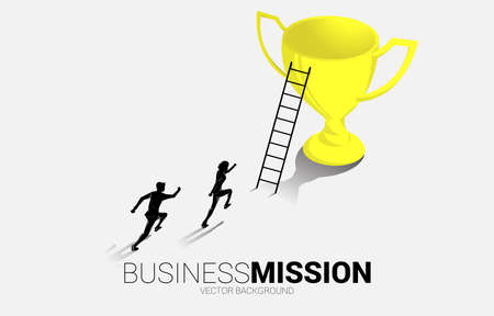 Silhouette businessman running to champion trophy with ladder. Business Concept of leadership goal and vision mission