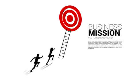silhouette of businessman competition with ladder to target dartboard. Concept of vision mission and goal of business