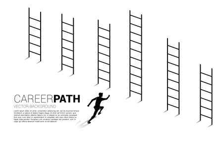 Business concept of competition and challenge. Silhouette of businessman running to highest ladder.