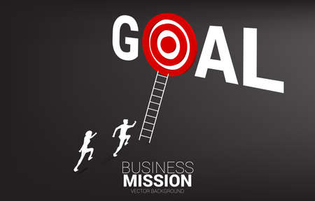 silhouette of businessman competition with ladder to target dartboard in goal word. Concept of vision mission and goal of business