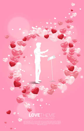 Vector silhouette of conductor standing with heart balloon flying . Concept background for love song and concert theme. Illusztráció