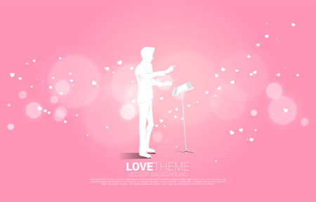 Vector silhouette of conductor standing with heart flying . Concept background for love song and concert theme. Vectores
