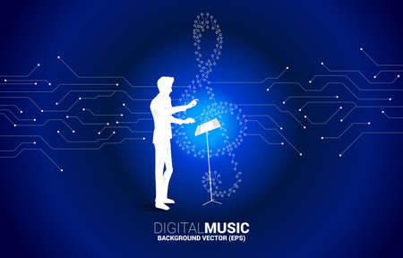 vector conductor and sol music key note from dot connect line circuit board style. Concept background for song and digital music.