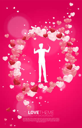 Vector silhouette of conductor standing with heart balloon flying . Concept background for love song and concert theme. Stock fotó