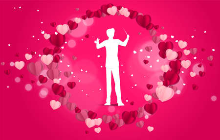 Vector silhouette of conductor standing with heart paper art flying . Concept background for love song and concert theme.